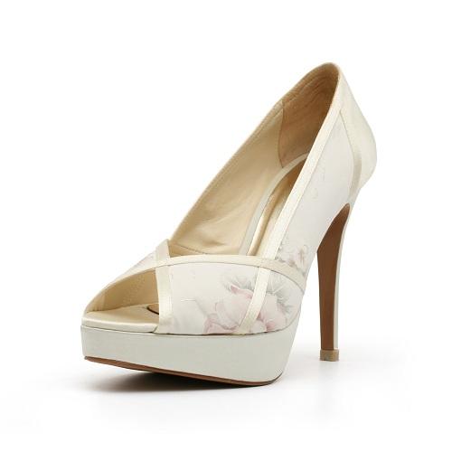 Ivory Floral Heels