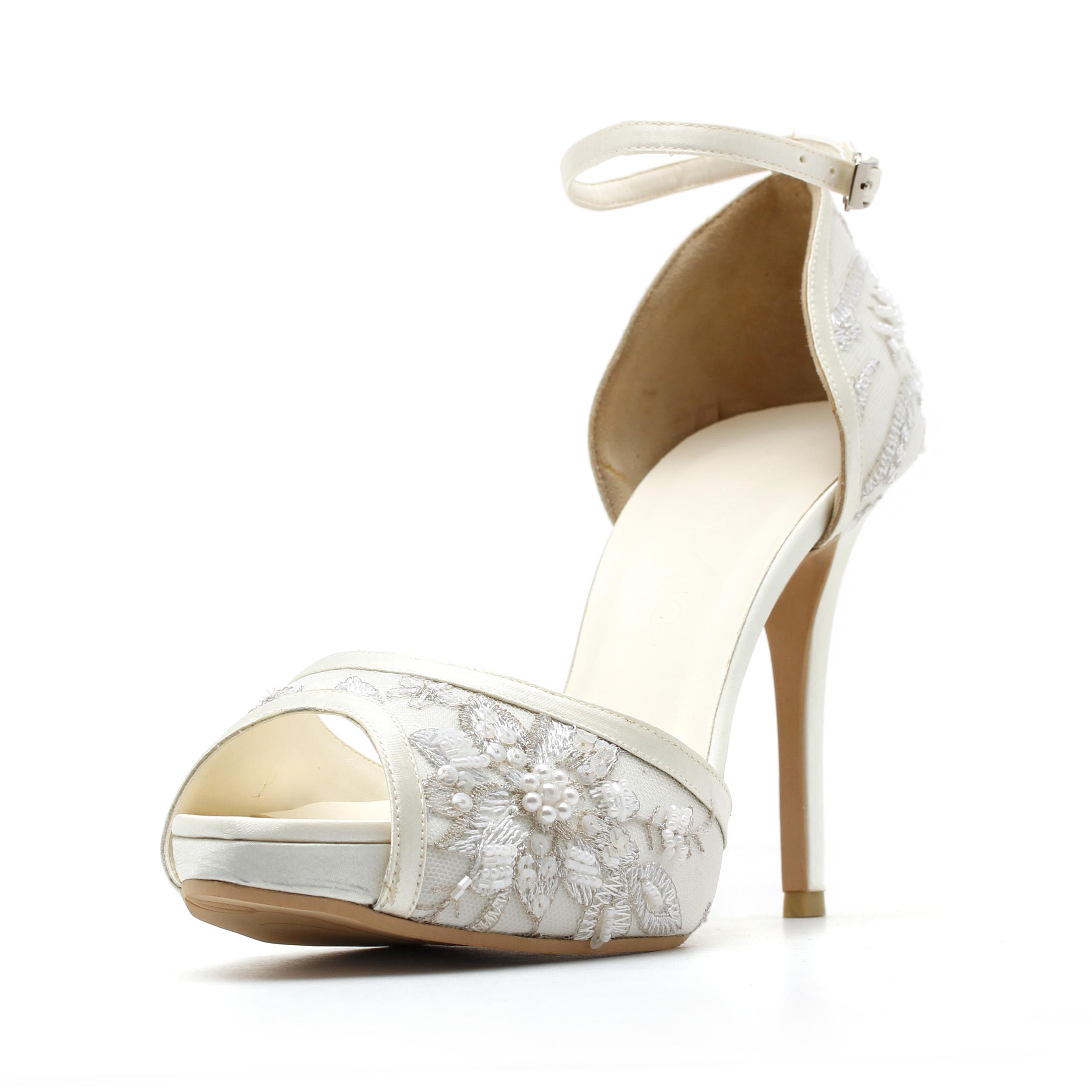 White strappy wedding heels