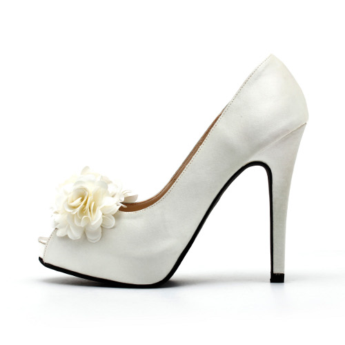 White Wedding Shoes With Three Dimensional Flowers