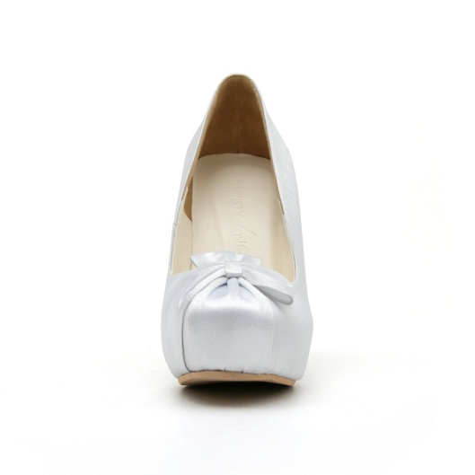 Close Toe White Wedding Shoe