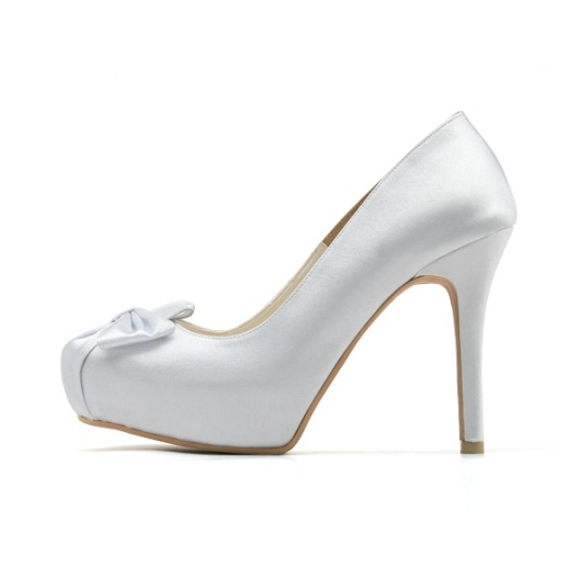 White Cover Toe Wedding Shoe