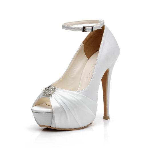 New Rhinestone White Satin Wedding Shoes