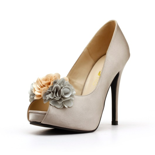 Silver Satin Wedding Shoe