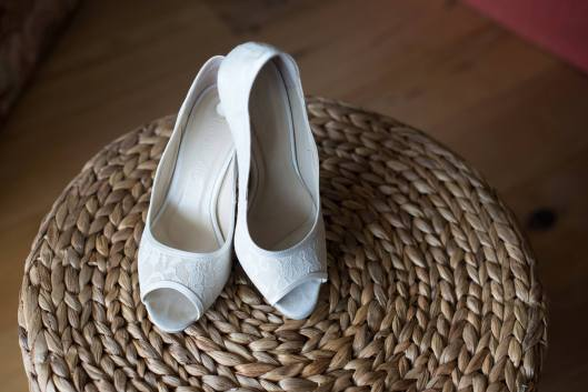 White Laced Wedding Heels